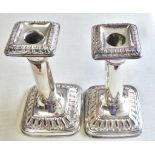 Candle Sticks - Pair of silver plated, weighted candle sticks 18cm high, worn.