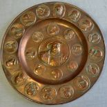 """Copper Plate - decorated with pennies and Henry the VIII in the centre - size 12"""" round"""