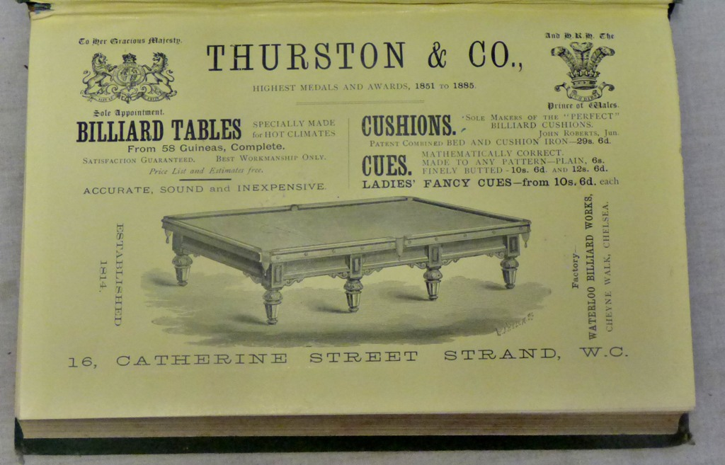 Lot 38 - Kentfield Edwin The Game of Billiards published The Proprietors Thurston and Co Strand London &