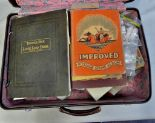 Lot 45 - Suitcase- Collectors glory box coins in tins + old purses, crowns, stamps in albums and bags -