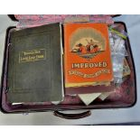 Suitcase- Collectors glory box coins in tins + old purses, crowns, stamps in albums and bags -