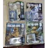 Dr Who-(4) Magazines Unopened with Figures sealed - Planet of the Daleks - Mummy on the express-