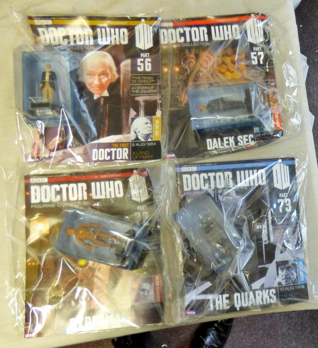 Lot 24 - Dr Who - (4) Magazines unopened with figures-The reign of terror-The Time of the Doctor-Evolution of