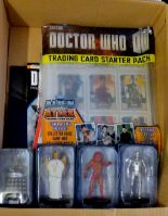 Lot 18 - Dr Who - (4) Figures + Sticker Album and stickers - Davros HT766-Cyberman ANN2944-Heavenly Host