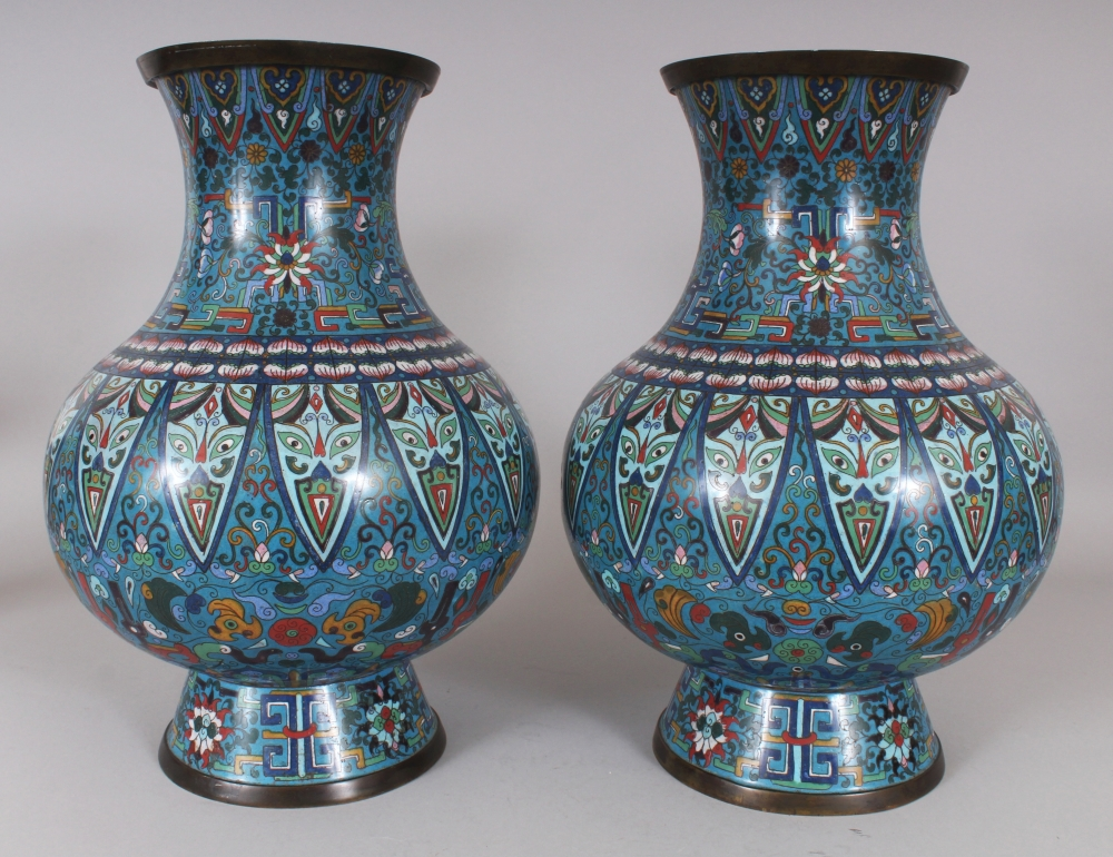A Good Large Pair Of Late 19th Century Chinese Cloisonne Vases Each