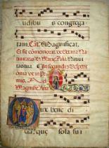Lot 31 - ILLUMINATIONS, a 17th c. vellum antiphonal sheet with historiated, illuminated initial, 19 x 14