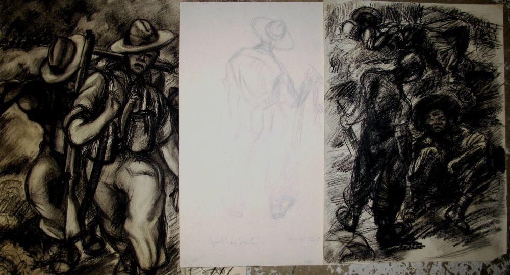 """Lot 26 - GURKHA INTEREST, 2 charcoal & 1 pencil drawing, inscribed, one reads """"C. Coy No. 13 Pl. towards"""