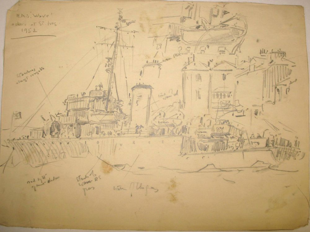 "Lot 32 - [NAVAL INTEREST] SILAS (Ellis) ""H.M.S. Wave driven ashore at St. Ives,"" 1952, preparatory sketches"