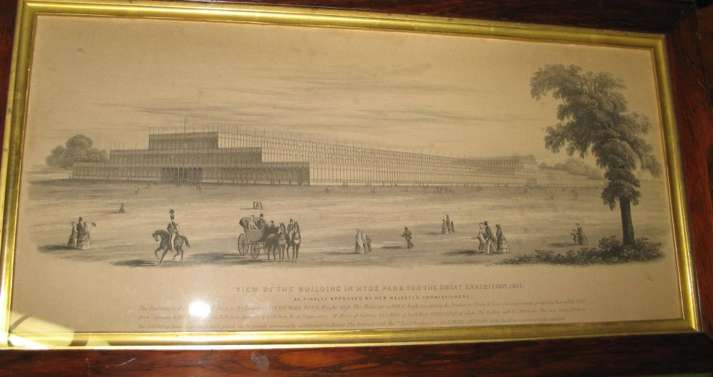 Lot 17 - CRYSTAL PALACE: Original lithograph produced for the Great Exhibition. Framed and glazed, 50 x 27
