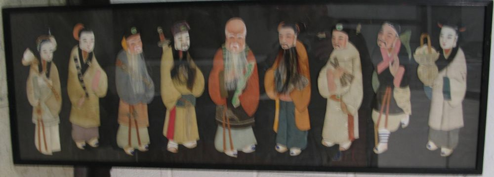 Lot 60 - CHINA: 10 Chinese figures or types, made of silk, paper and hair. 13 x 39 inches, framed & glazed.