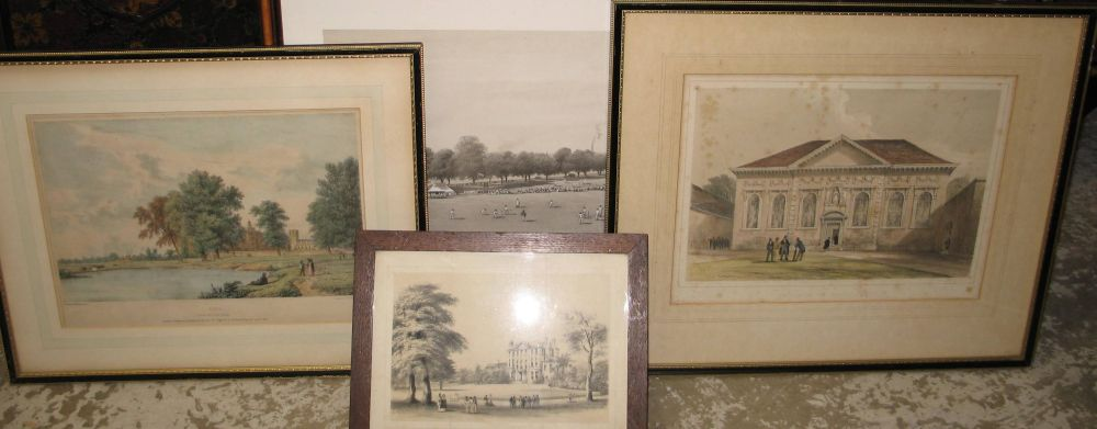 "Lot 23 - CRICKET PRINTS / SCHOOLS: ""Denmark Hill Grammar School,"" litho. cricket scene, & 3 others, different"