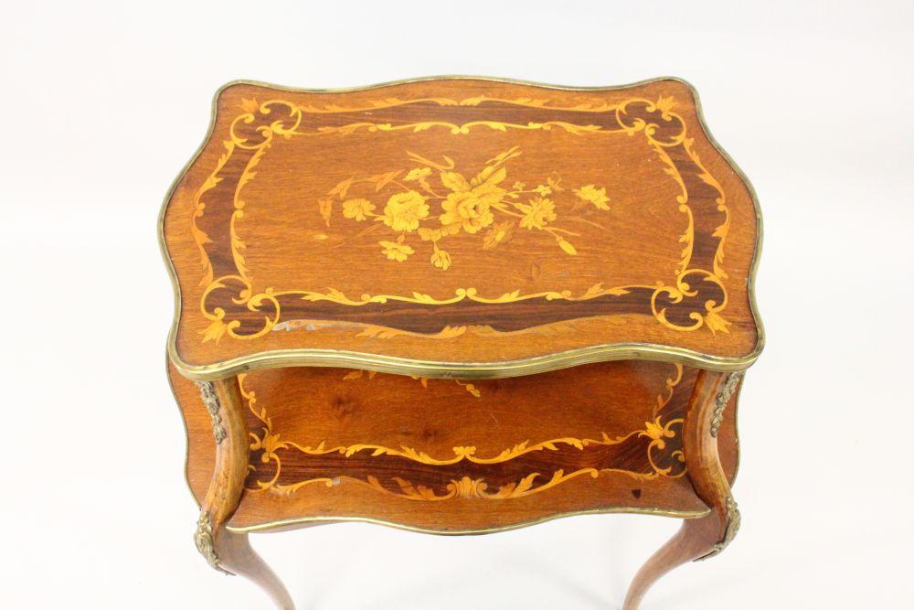 Lot 1019 - A FRENCH, MAHOGANY, ORMOLU AND MARQUETRY TWO TIER ETAGERE, 20TH CENTURY, inlaid with floral swags,