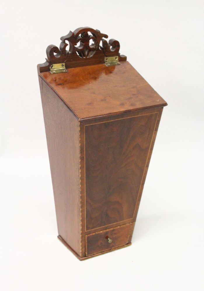 Lot 1021 - A 19TH CENTURY MAHOGANY AND INLAID CANDLE BOX with a small drawer. 1ft 8ins high.