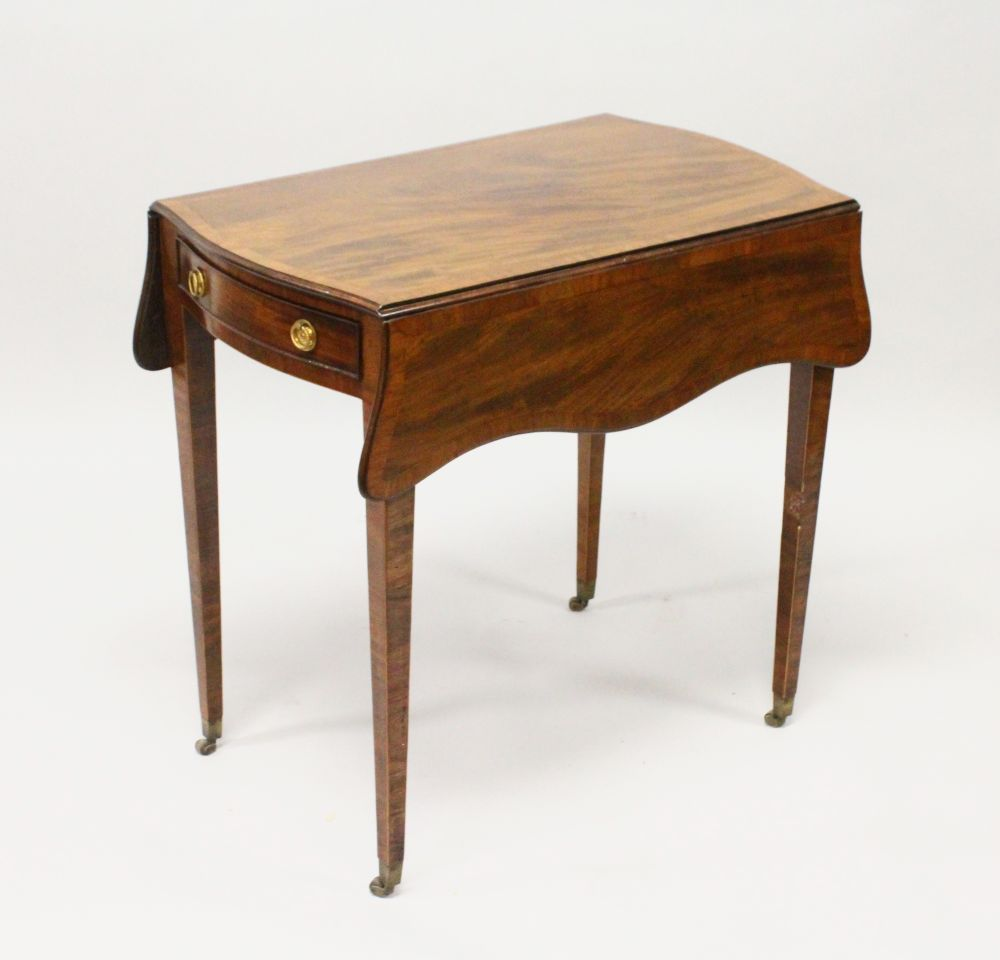 """Lot 1008 - A GOOD GEORGE III MAHOGANY """"BUTTERFLY"""" PEMBROKE TABLE, the well figured top with boxwood stringing"""