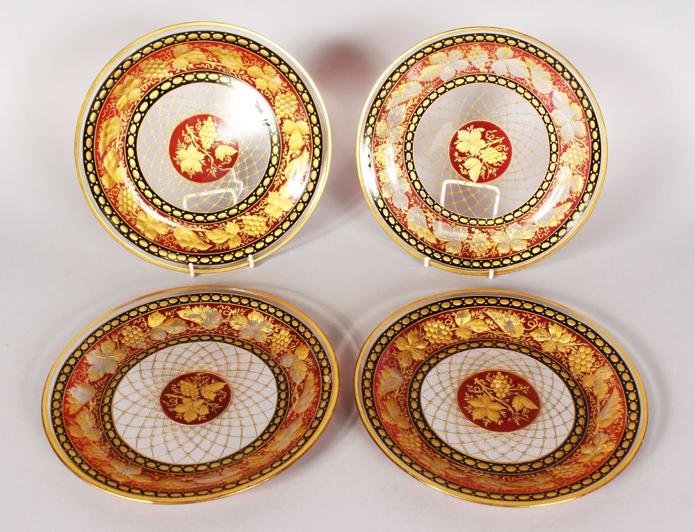 Lot 1055 - A VERY GOOD SET OF FOUR VENETIAN ICE PLATES decorated with fruiting vines. 8.5ins diameter.