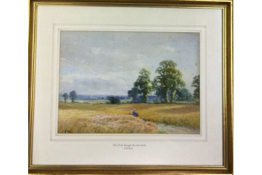 Watercolour landscape entitled The path through the corn fields by ...