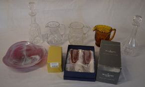 Various glassware including decanters and jugs