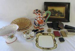 Assorted ceramics inc Staffordshire greyhounds (1 af) and Ironstone jug, glassware, plaque,