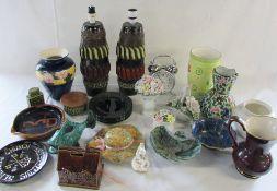 Various ceramics etc in pair of table lamps