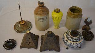 Various oil lamp bases (some broken) Jones's flagon,