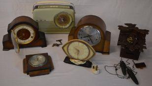 3 mantle clocks, cuckoo clock,