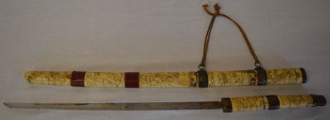 Japanese Meiji period ivory or bone Wakizashi, blade length approx 43cm,