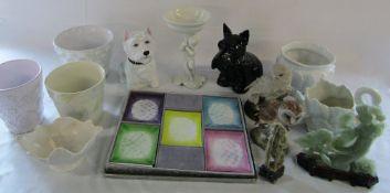Miscellaneous ceramics etc inc plant pots & soapstone oriental figures