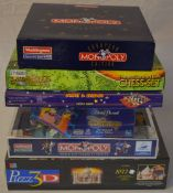 Various games including Monopoly and chess sets