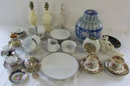Selection of ceramics inc Bohemia and Limoges & pair of table lamps etc