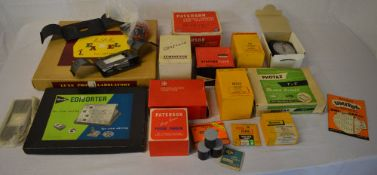 Photography accessories including enlarging meters, safelights, rocker dishes, focus finder,