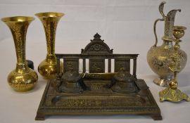 Ink stand, 2 brass vases, white metal jug,