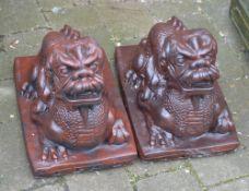 Pair of Oriental style garden dragon figures