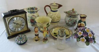 Assorted ceramics inc Royal Doulton, Aynsley and Humel, glass paperweight,