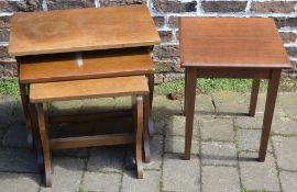 Oak nest of tables and a small occasional table