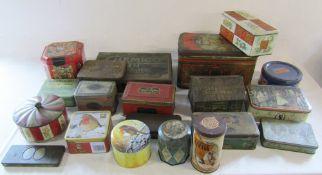 Assorted vintage advertising tins etc