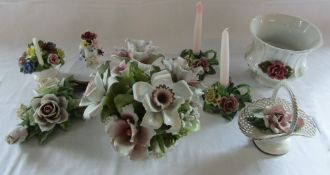Various floral ceramics inc Capodimonte and Aynsley (some af)