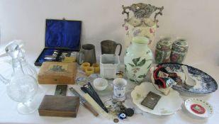 2 boxes of assorted ceramics, glassware, fans,