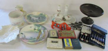 Selection of silver plate, wooden fruit bowl, Royal Doulton plates, dressing table set,