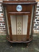 1930's bow fronted display cabinet with inset clock (not working)