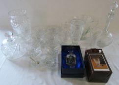 Various glassware inc Bohemia, salts (inc silver spoon),