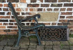 Pair of cast iron bench ends & back