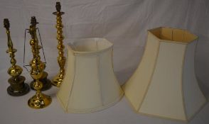 4 brass lamps and two shades