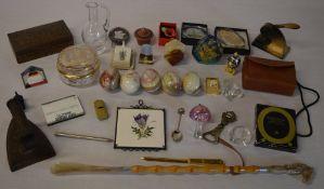 Mixed lot including stone eggs, brass bottle opener, brass photo frame,