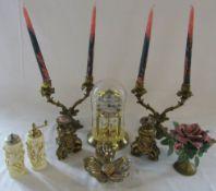 Brassware inc candlesticks & anniversary clock