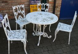 Cast alloy patio table & 4 chairs
