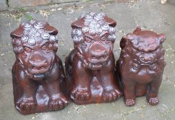 Oriental style lions and a foo dog