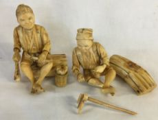 Pair of Japanese Meiji period carved ivory figures of farmers both damaged & repaired one detached