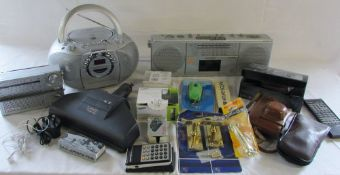 Old stereos inc Bush and Sony, calculator,