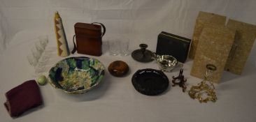 Mixed lot including drinking glasses, ceramic bowl, treen,