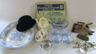 Crumb tray, meat plate, bowler hat, Alfred Meakin teapot, silver plate cutlery,